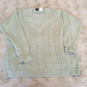 Jantzen mint v-neck sweater sz 3X